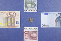 Euro coin and banknotes Royalty Free Stock Photos
