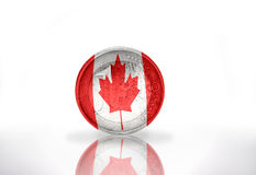 Euro coin with canadian flag. On the white background Royalty Free Stock Photos