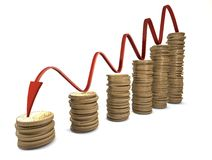 Euro Coin chart. Euro crisis chart with red arrow Stock Photography