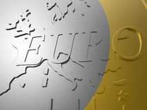 Euro coin closeup. 3D rendered illustration of a euro coin close up. The inner part of the coin is textured with a metallic texture and the outside border has a Royalty Free Stock Photo