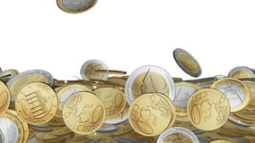 Euro coin. S on white background stock footage