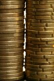 Euro coin columns, golden cash over white Royalty Free Stock Images