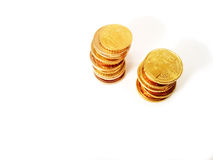 Euro coin columns Royalty Free Stock Images