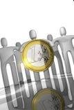 Euro coin concept. Euro coins concept with leader Royalty Free Stock Photo