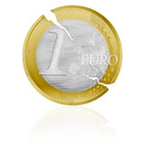 Euro coin with cracks as a crisis symbol. Old weathered one euro coin symbolizing the crisis in The European Union Stock Photography