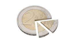 Euro coin 3D pie chart Royalty Free Stock Images