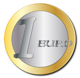 Euro Coin. A euro coin design isolated on a white background Stock Photos