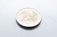 2 euro coin. In detail on a gray background Royalty Free Stock Images