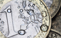 Euro coin detail with water drops Royalty Free Stock Image
