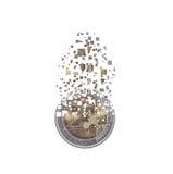 Euro coin dissolving as a concept of economic crysis Stock Photos
