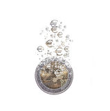 Euro coin dissolving as a concept of economic crysis Royalty Free Stock Photos
