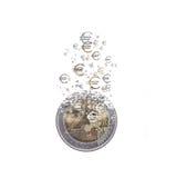 Euro coin dissolving as a concept of economic crysis Royalty Free Stock Photos