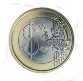 Euro coin with dollar sign Stock Photography
