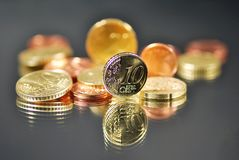 Euro coin earn Stock Photography