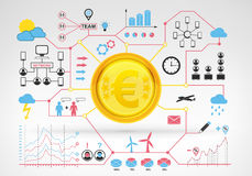 Euro coin earnings with blue red infographic icons and graphs around Stock Image