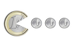 Euro coin eating Italian lire coins. On a white background Royalty Free Stock Image