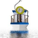 Euro coin enjoy the cruise illustration Royalty Free Stock Photo
