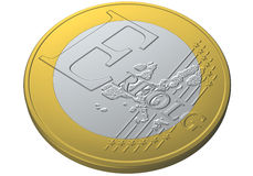 Euro coin erfolg. Illustration of one euro coin with the word erfolg Royalty Free Stock Photos