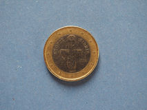 1 euro coin, European Union, Cyprus over blue Royalty Free Stock Photo