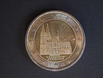 2 euro coin, European Union, Germany. 2 euro coin money EUR, currency of European Union, Germany, 2011 commemorative coin showing Cologne cathedral in Nordrhein Royalty Free Stock Photo