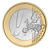 Euro coin with exclamation mark Royalty Free Stock Photography