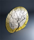 Euro coin falling apart Stock Images