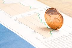 Euro coin on financial chart Stock Photography