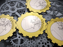 Euro coin gears. And cog wheels - european financial system Royalty Free Stock Photo