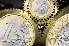 Euro coin gears. Euro coin currency gears closeup Royalty Free Stock Photo