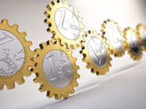 Euro coin gears. Financial system concept Royalty Free Stock Images