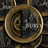 Euro coin with gears Royalty Free Stock Image