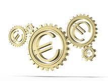 Euro coin gears. Isolated on a white background. 3d render vector illustration