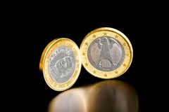 Euro coin of germany and spain. On black background Royalty Free Stock Image