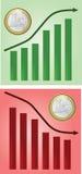Euro coin graph. One euro coin metal Stock Photo