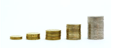 Euro Coin Growth Graph Royalty Free Stock Photography
