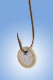 Euro coin. Hanging on the hook catch stock image