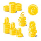 Euro coin heaps. Exceeding income goals, calculating high income. And a large capital base. Business finance and economy concept. Cartoon vector illustration Royalty Free Stock Image