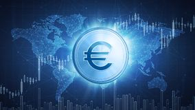 Euro coin on hud background with bull stock chart. Euro coin on hud background with bull trading stock chart and polygon world map. Growth of the euro in price Stock Images