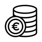 Euro coin icon. Euro coin thin line  icon Stock Images