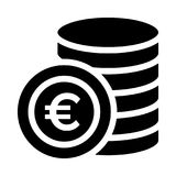 Euro coin icon. Euro coin Glyph flat icon royalty free illustration