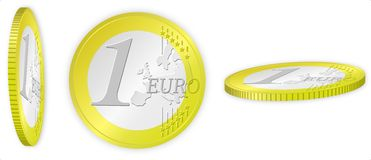 Euro coin ilustration Royalty Free Stock Image