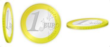 Euro coin ilustration. Ilustration of 1 Euro coin. Three views Royalty Free Stock Image