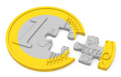 The euro coin jigsaw. 3d generated picture of an euro coin concept Stock Photography