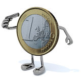 Euro coin kill itself Stock Image