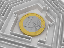 Euro coin in labyrinth. Royalty Free Stock Photos