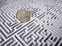 Euro coin in the labyrinth maze Stock Photos