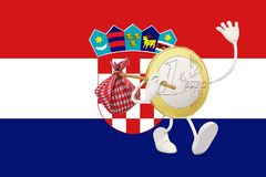 Euro coin leaving Croatia Royalty Free Stock Image