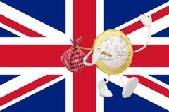 Euro coin leaving England Stock Images