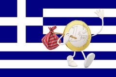 Euro coin leaving Greece Stock Image
