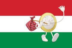 Euro coin leaving Hungary Stock Image